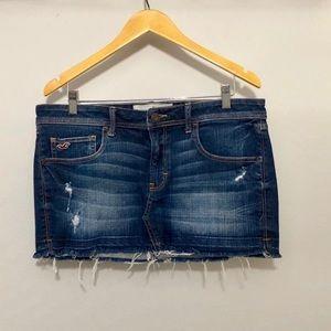 Hollister Denim Skirt Distressed Frayed Hem Mini